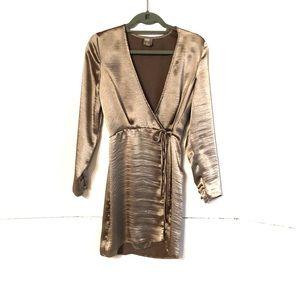 ASOS Silver Metallic Wrap Dress